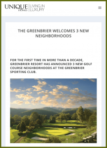 The Greenbrier Welcomes 3 New Neighborhoods - Unique Homes